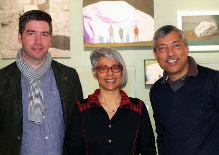 Renee Saklikar at the Surrey Art Gallery with Jordan Strom and Kamal Sharma.