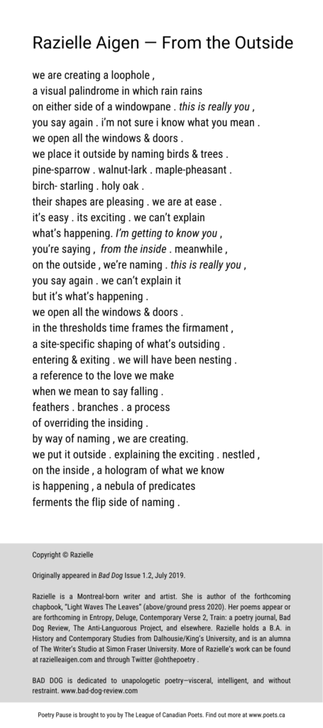 "Poem author and title: Razielle Aigen— From the Outside Poem: we are creating a loophole ,  a visual palindrome in which rain rains  on either side of a windowpane . this is really you ,  you say again . i'm not sure i know what you mean .  we open all the windows & doors .  we place it outside by naming birds & trees .  pine-sparrow . walnut-lark . maple-pheasant .  birch- starling . holy oak .  their shapes are pleasing . we are at ease . it's easy . its exciting . we can't explain  what's happening. I'm getting to know you ,  you're saying ,  from the inside . meanwhile ,  on the outside , we're naming . this is really you ,  you say again . we can't explain it  but it's what's happening .  we open all the windows & doors .  in the thresholds time frames the firmament , a site-specific shaping of what's outsiding .  entering & exiting . we will have been nesting .  a reference to the love we make  when we mean to say falling .  feathers . branches . a process  of overriding the insiding .  by way of naming , we are creating.  we put it outside . explaining the exciting . nestled , on the inside , a hologram of what we know  is happening , a nebula of predicates  ferments the flip side of naming . End of Poem.  Copyright © Razielle Originally appeared in Bad Dog Issue 1.2, July 2019. Razielle is a Montreal-born writer and artist. She is author of the forthcoming chapbook, ""Light Waves The Leaves"" (above/ground press 2020). Her poems appear or are forthcoming in Entropy, Deluge, Contemporary Verse 2, Train: a poetry journal, Bad Dog Review, The Anti-Languorous Project, and elsewhere. Razielle holds a B.A. in History and Contemporary Studies from Dalhousie/King's University, and is an alumna of The Writer's Studio at Simon Fraser University. More of Razielle's work can be found at razielleaigen.com and through Twitter @ohthepoetry .  BAD DOG is dedicated to unapologetic poetry—visceral, intelligent, and without restraint. www.bad-dog-review.com"